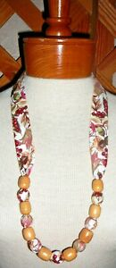 NECKLACES~FABRIC & BEAD~AUTUMN -FALL~Reversible~Washable~Designs Vary ~NEW