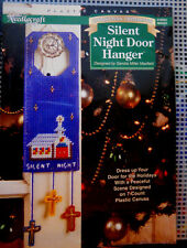 Plastic Canvas Christmas Door Hanger Ornament Needlecraft Craft Kit SILENT NIGHT