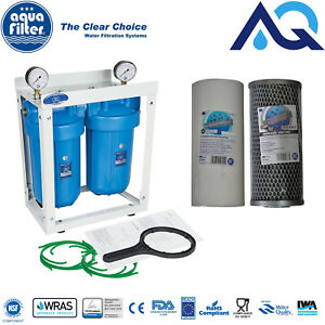"""2 Stage Whole House High Flow Water Filter Dechlorinator Chlorine Removal 1"""" BB"""