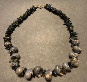 "Vintage Shell Necklace Boho Choker Hook Clasp 16"""