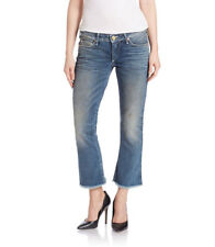 True Religion Women's Karlie Cropped Bell Bottom Denim Jeans Size 24 $219 New!