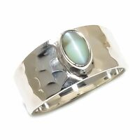 Cat'S Eye Natural Gemstone Handmade 925 Sterling Silver Ring Size 7 SR-485
