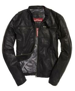 """New Superdry Real Hero Biker Leather Jacket Size: L 40"""" (102cm) RRP £199.99"""