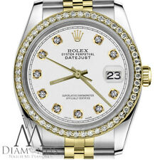 Unisex Rolex 36mm Datejust 2 Tone White Color Diamond Accent Dial with a Track