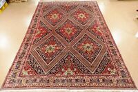 Persian Afsharr Rug Tribal Hand Knotted Wool Navy Red Oriental Carpet 13 x 19