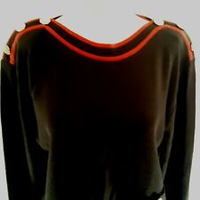 Vintage CHAUS Womens Small Petite Pullover Sweater Black Red Acrylic Cotton