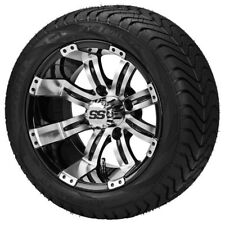 Set of 4 - 215/50-12 Tire on a 12x7 Blk/Machined Tempest Wheel w/FREE Freight