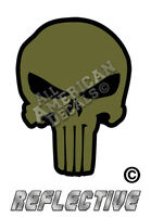 "5- ODG Green Punisher Decals SKULL 1"" inch Reflective Decal Sticker JEEP BLK Eye"