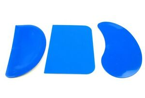 Set x 3 BLUE Flexible Pastry Bread Dough Pizza Scraper Cake Mixing Baking S7379
