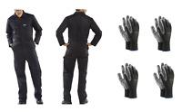 KFZ Arbeitskombi Overall schwarz Arbeitsoverall inkl. 4 Paar Arbeitshandschuhe