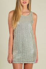 Forever 21 White Silver Sequin Mini Party Tent Dress SIZE Small