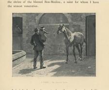 ANTIQUE HORSE STABLE EQUESTRIAN MAN CHILD GIRL SUNLIGHT SHADOWS MINIATURE PRINT