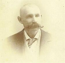 CABINET CARD PHOTO: DISTINGUISHED MATURE GENT w LG HANDLEBAR MUSTACHE, Ithaca NY