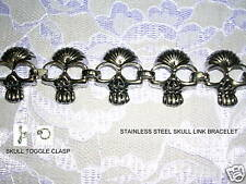 "MENS UNIQUE BIKER STAINLESS STEEL SKULL CRANIUM LINK BRACELET 9"" TOGGLE CLASP"