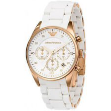 NEW EMPORIO ARMANI AR5919 WHITE ROSE GOLD MENS WATCH - 2 YEARS WARRANTY