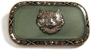 Catherine Popesco France Deco Revival Enamel & Rhinestone Lynx Cat Brooch Pin
