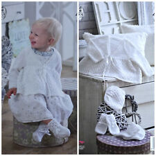 Baby KNITTING PATTERN Matinee Coat Bonnet Bootees & Mittens 4ply King Cole 4944