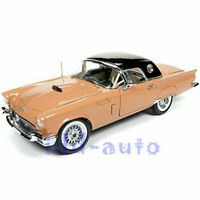 AUTOWORLD 1/18 1957 FORD THUNDERBIRD T-BIRD CONV CORAL SAND W/ BLACK TOP AMM1098