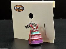 Fossil Present Charm For Bracelet Necklace Silvertone Multicolor Enamel New! NWT