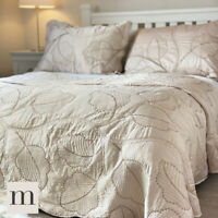 Luxury Double / King Size Embroidered Soft Gold Neutral Bedspread Set Modern