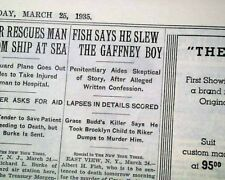 ALBERT FISH Serial Killer Child Rapist & Cannibal Trial CONFESSION1935 Newspaper