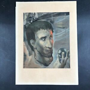 Mariette Lydis 1944 Small Print Abstract Dark Colored Portrait Covered in Faces