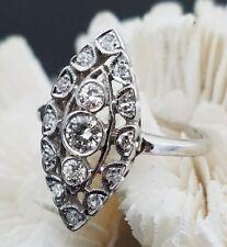 Art Deco Era 14K White Gold 1.00 Carat Diamond Marquise Navette Cocktail Ring
