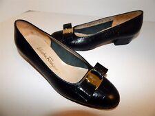 Salvatore Ferragamo Lillaz 7 B Black Reptile Leather Bow Pumps Italy