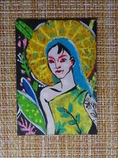 ACEO original pastel painting outsider folk art #010155 girl portrait surreal