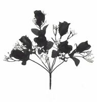 84 BLACK Silk Rose Bud Wedding Bouquet Flower Buds Bush NO DEW