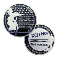 LEO A Thin Blue Line Challenge Coin Defend Police Guardian Silver Coin