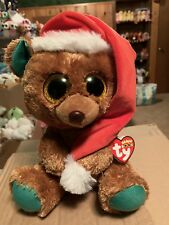 Ty Nicholas -Brown/Green w/Santa's Hat, Holiday Bear 10� Exclusive Beanie Boo!