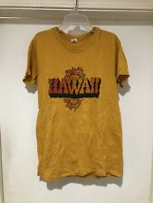 Vintage 1970s Hawaii Yellow T Shirt Boho Hippie USA Souvenir Floral Cotton S