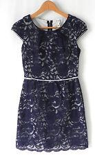Pink Owl Dress Cap Sleeve Navy Blue Cotton Blend Lace Size S