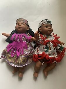 """Vtg 1990's Gigo Toy Bean Bag Kids Beanie Kids 8"""" Bean Bag Dolls LOT Of 2"""