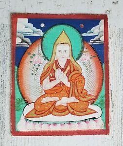 Mongolian Tibetan antique miniature Tsakli Thangka Detail Tsong Khapa Painting