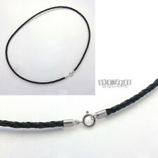 """14"""" Sterling Silver 3mm Black Braided Round Genuine Leather Cord Necklace Clasp"""