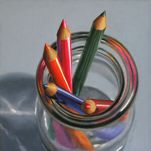 DANFORTH Pencils In Cream Bottle 8x8 still life realistic oil painting