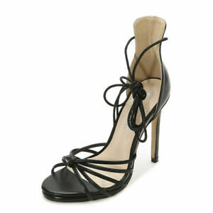 Womens High Heels Lace Up Strappy Sandal Peep Toe Platform Club Cocktail Wedding