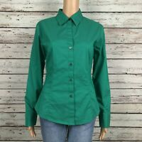 New York & Co. Stretch Button Front Blouse Shirt MEDIUM Bright Green Career Work