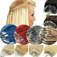 """7A 16""""-26""""  Micro Ring Loop Silicone Beads Remy Hair Extensions Human Hair"""