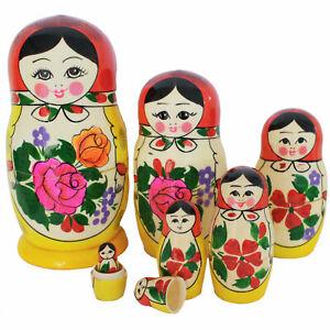 Russische Matroschka Babuschka Matrjoschka Russin rotes Tuch Set 7 Puppen 16 cm