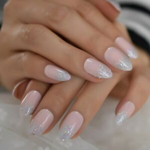 False nails UV Gel French Ombre Glitter Tips Natural 24pk +nail tabs by EchiQ