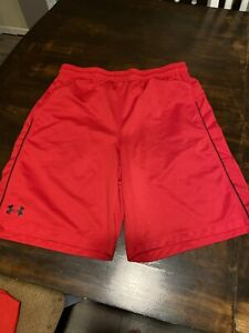 Under Armour Loose Basketball Shorts Red Black Men's Size Large