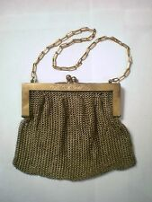 Antique German Silver Mesh Chain Maille Gold Wash Purse Scrollwork on Frame