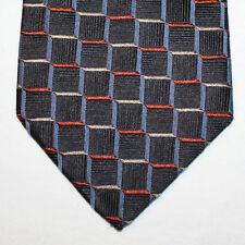 NEW Mondo di Marco Silk Neck Tie Black with Blue, Beige & Brick Red Plaids 1507