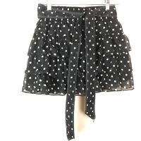 Disney Parks Womens Skirt Size Medium LayeredTiered Polka Dot Minnie Mouse Black