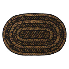 Farmhouse Black & Tan Jute Country Cottage Oval Braided Area Accent Rug