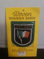 Vintage Irish Tricolour Waving Flag Ireland Souvenir Felt Crest Patch Badge NIP