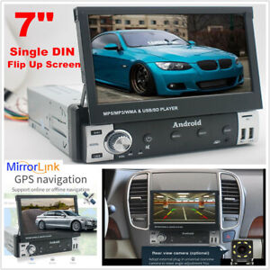 """7"""" 1 DIN Android 9.1 Flip Up screen GPS Navigation Car Stereo Video Player Radio"""